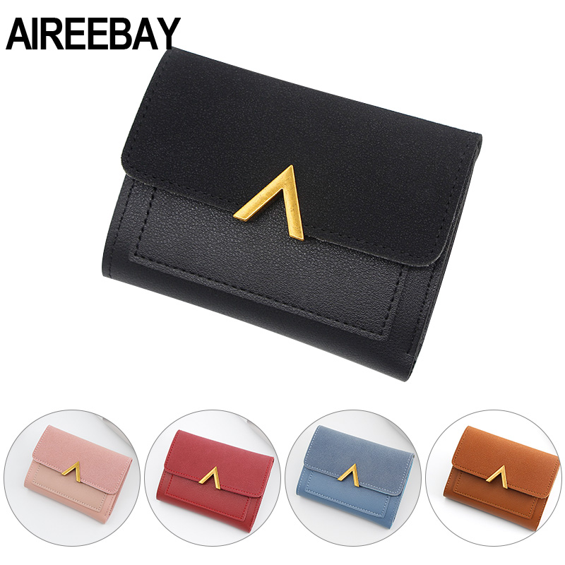 AIREEBAY Women Purse Vintage Small Short Leather Wallet Luxury Brand Famous Mini Female Fashion Wallets Purse Credit Card Holder