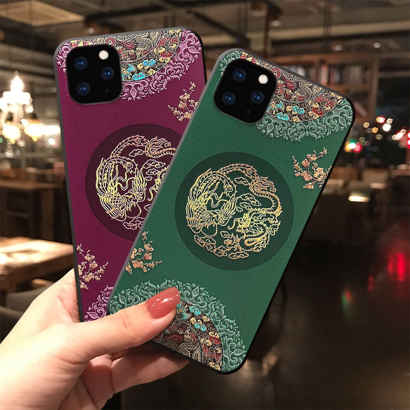 Embossed 3D Antiquity Style Shockproof Cover Case for iPhone 12 Pro