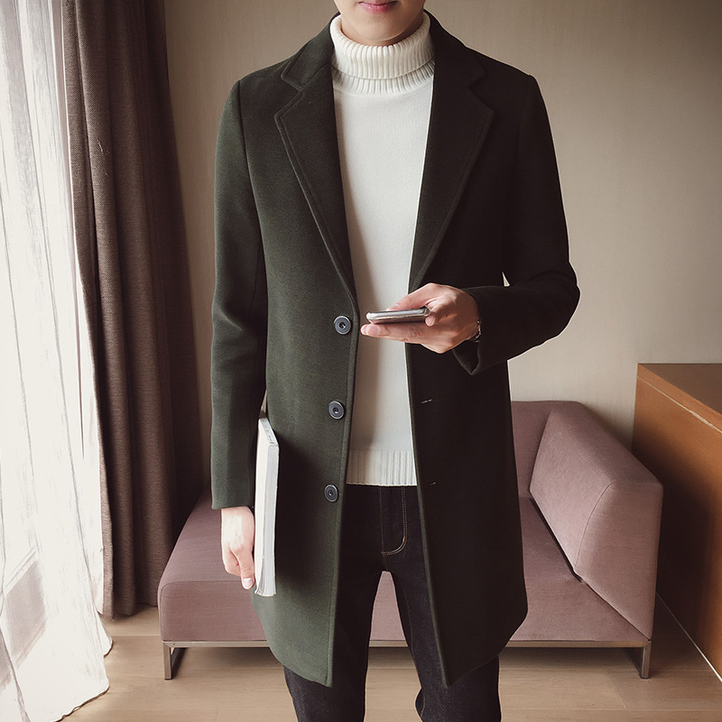 Fashion men's autumn coat long windbreaker jacket warm thick woolen long coat quality slim black male jacket Slim mid-length mul