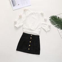 Осенне зимняя одежда для девочек вязаные топы с помпоном и мини