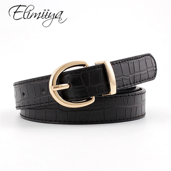 цена Elimiiya Brand Designer Punk Women Belt Female Crocodile Pattern Pin Buckle Wild Thin Belts Comfortable ремни мужские кожаные онлайн в 2017 году