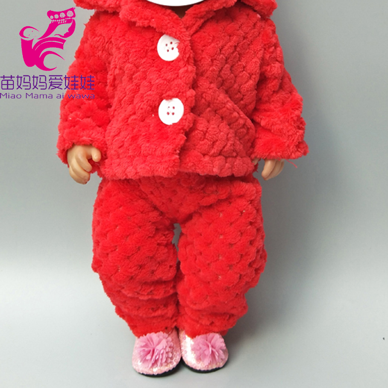 Dolls Coat For 43cm Born Bebe Dolls Jacket Winter Pink Fur Clothes 18