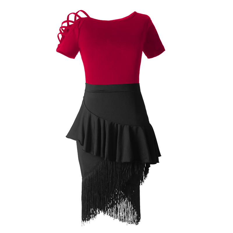 Shoulder Out Latin Dance Fringe Dresses Women Performance Black Red Tango Cha Cha kids Dress for Girls in Latin from Novelty Special Use