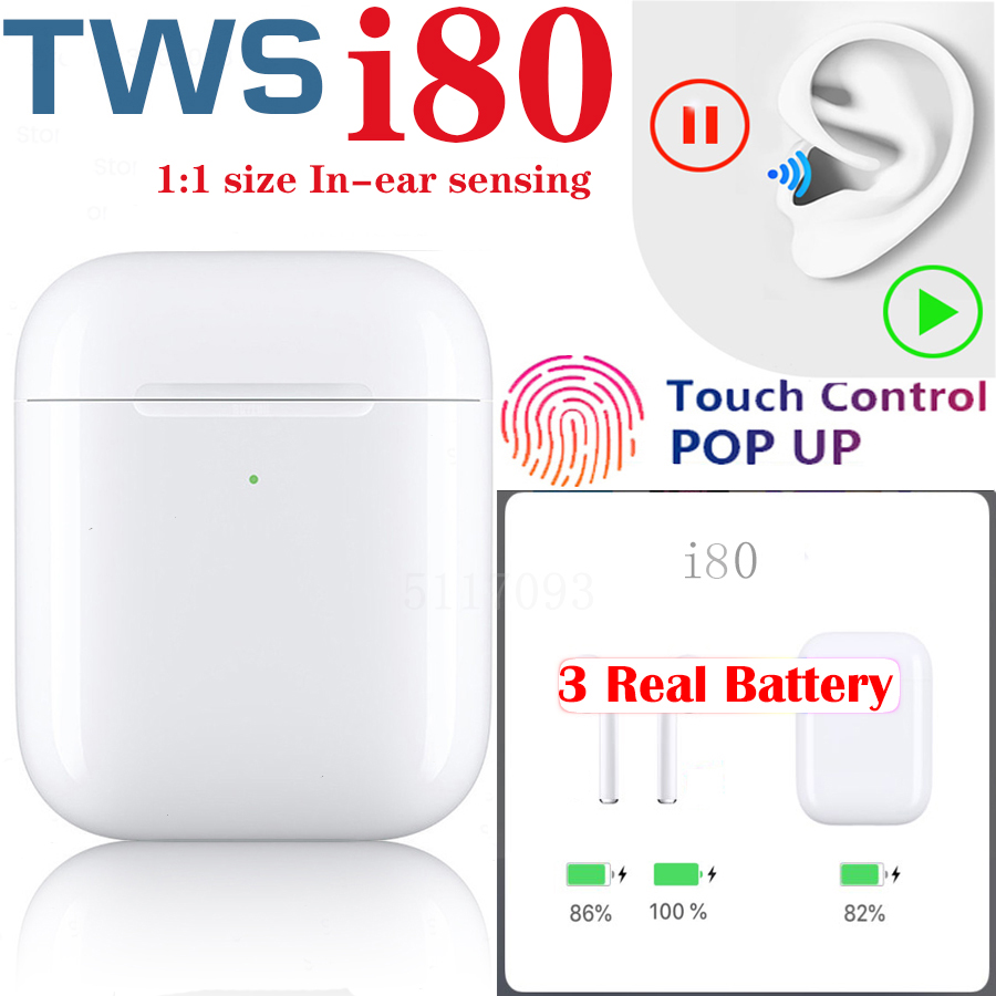 Wireless Earphone i80 tws 1:1 size Bluetooth Earbuds In-ear sensor music Gift Headset for samsung Not i12 i30 i100 i200 i500TWS image