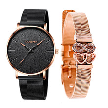 Black Watch Gold And Diamond Love Net Bring Bracelet Jewelry Set Concise Wrist Watch For Women Stylish Time Quartz Watch Women