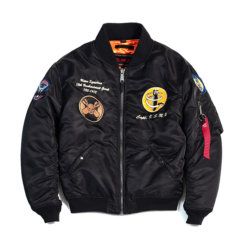 SMN Flight Jacket Black Spring Autumn Men Bomber Pilot Jacket Ma-1 Air Force Pilot Baseball
