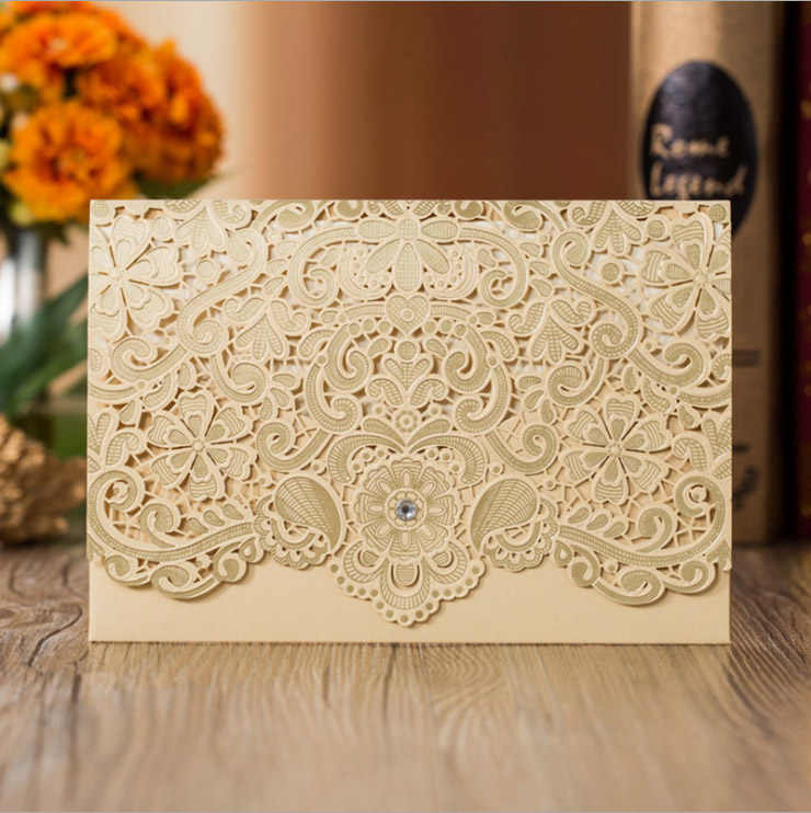 High Quality Wedding Invitation Card Laser Pocket 120*180mm Several Colors 100+ Styles
