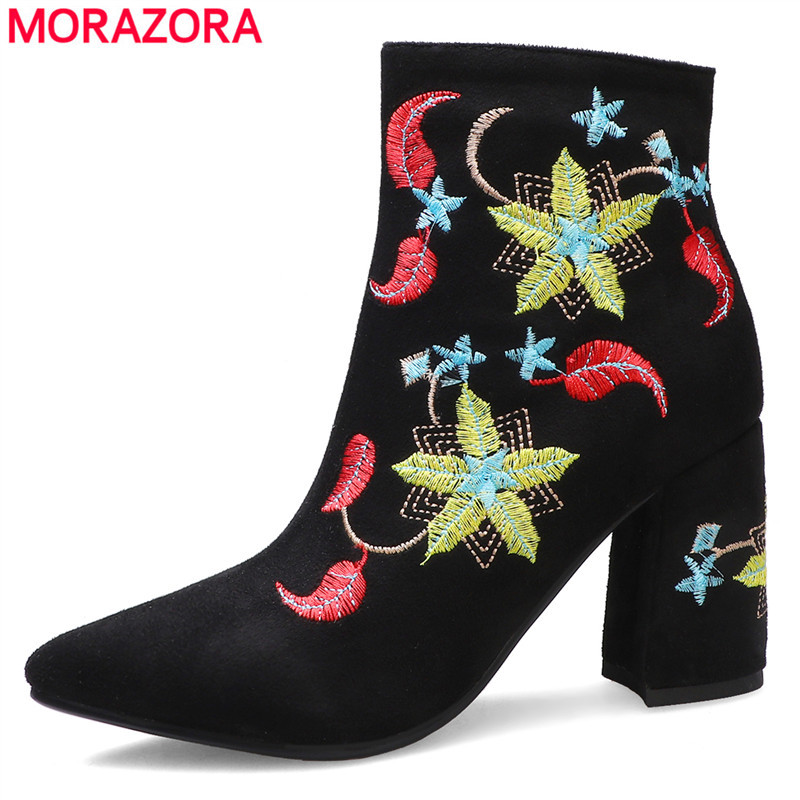 MORAZORA 2020 new arrive hot sale women boots high heels fashion embroidered flowers ladies shoes thick heels pointed toe ankle boots