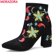 MORAZORA 2020 new arrive hot sale women boots high heels fashion embroidered flowers ladies shoes thick heels pointed toe ankle boots(China)