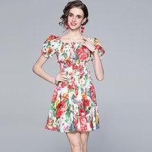 Zuoman mulheres verão elegante vestido floral festa feminino de alta qualidade curto festa robe femme designer do vintage vestidos casuais