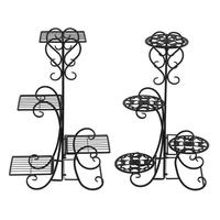 4 Potted Rounded Flower Metal Shelves Plant Pot Stand Home Garden Decor
