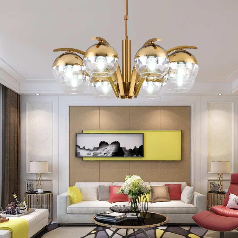 Glass Lamp Lustre Chandelier Lighting Modern Living Room Kitchen Indoor Decor Home Light Fixtures Copper Chrome Metal Design E27|Chandeliers| |  - title=