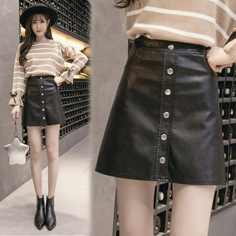 Women Autumn Winter Sexy Stretchy Skirt High Waist PU Leather Short College Skirt Solid Color A-line Mini skirt thumbnail