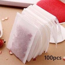 100 шт./лот, одноразовые чайные пакетики, пустые ароматизированные чайные пакетики с нитью, фильтрующая бумага для травяной листовой чай, кухонные принадлежности
