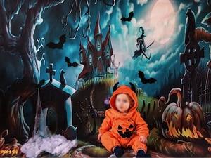 Image 2 - Capisco Foto Achtergrond Halloween Kasteel Fotografieachtergrond Heks Kraaien Pompoen Maan Begraafplaats Cartoon Photostudio Props