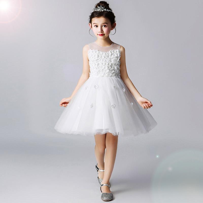 2019 haute qualité enfants fête spectacle robe été nouvelle fleur fille blanc robe de mariée filles princesse Costume pour 2 à 12 ans 24A1A