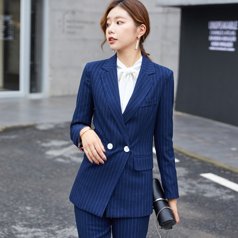 Women Suits Business Set Spring Fashion Long Sleeve Jacket Trousers Two Piece Suit For Women Blue Striped Office Lady Set