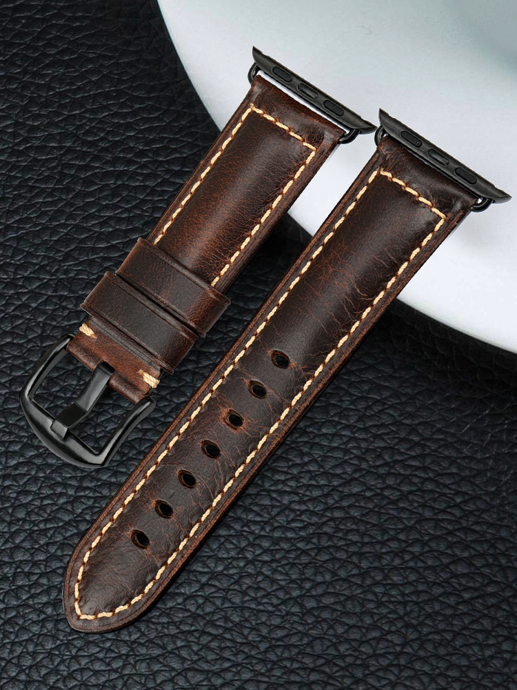MAIKES Oil Wax Leather Bracelet For Apple Watch Band 42mm 38mm/44mm 40mm Series 4 3 2