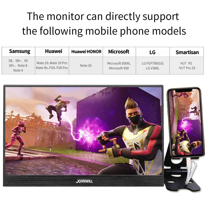 17.3 pouces HD 4K IPS Portable écran de jeu moniteur PC 3840X2160 pour PS3 PS4 Macbook 13.3 15.6 LCD USB C HDMI moniteur d'ordinateur - 4