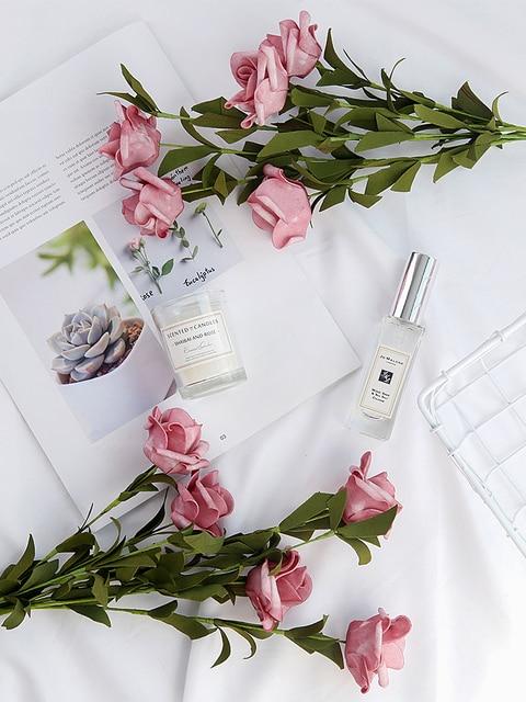 INS Style Artificial Vintage rosa Mesa decoración flores para cosméticos vino foto de fondo fotografía foto