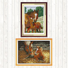 Chinese Cross Stitch Horse Patterns DMC Floss Embroidery Kit 14ct 11ct Counted Print on Canvas Aida Fabric DIY Needlework Kits(China)