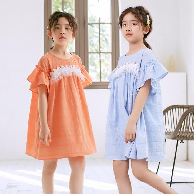 2020 ילדים חדשים תחרה שמלת מותג בנות שמלת תינוק נסיכת שמלת ילדים קיץ שמלת כותנה אקארד חמוד פעוט בגדים, #5570