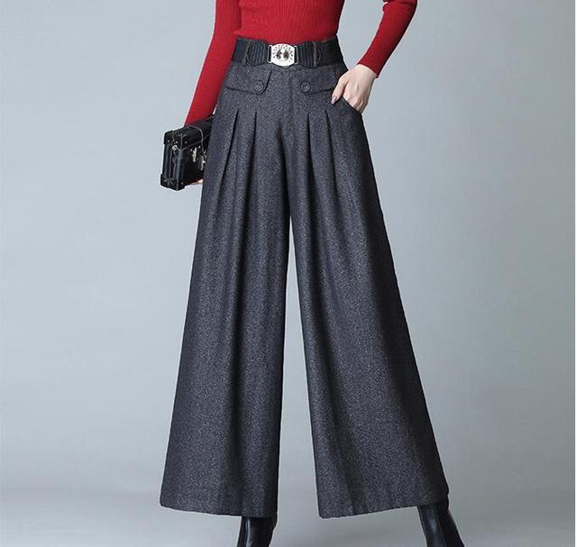 Palazzo Pantalones Rectos De Pierna Ancha Para Mujer Ropa De Corea Del Sur Color Gris Para Otono E Invierno Palazzo Pants Leg Pantsstraight Pants Aliexpress