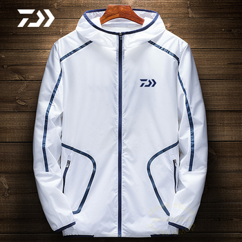 Daiwa Men Fishing Shirt Outdoor Clothing Shirt Long Sleeve Uv Protection Fishing Jacket Coat Soft Shell Skin Clothing Fishing tanie i dobre opinie gamdaiwa White Black Summer Outdoor Sports Running Cycling Fishing Polyester Bamboo Fiber Broadcloth Breathable Quick Dry Sun Protection