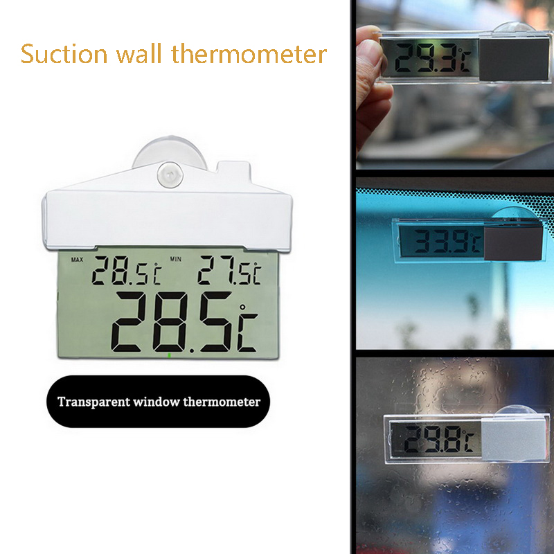 Indoor Outdoor House Sucker Temperature And Humidity Meter LCD Digital White