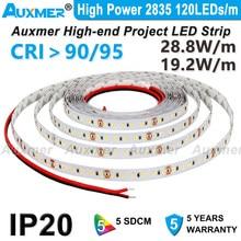 Alta potência 2835 120 leds/m led strip, cri95 cri90, ip20 dc12v/24 v, 28.8 w/m 19.2 w/m 600 leds/carretel, não-impermeável, vermelho verde azul âmbar