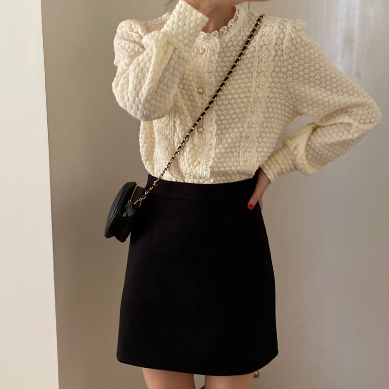 H0b33fa3b182b49f8afb135f6344bf10bC - Spring / Autumn O-Neck Long Sleeves Lace Buttons Blouse