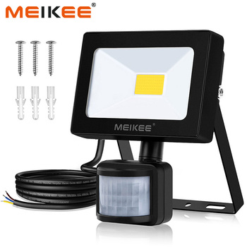 Meikee 10 w led 홍수 빛 모션 센서 방수 ac110v 220 v led 투광 조명 프로젝터 반사판 램프 야외 정원 조명
