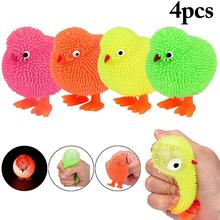4Pcs Cute Chick LED Light Stress Relief Kids Adult Squeezing Decompression Toy