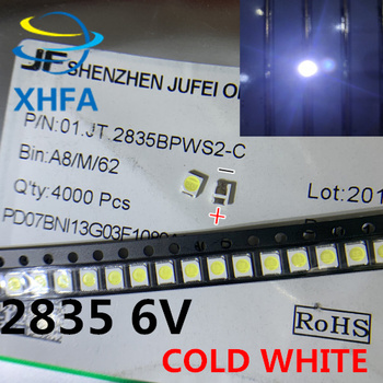 LED Backlight 1210 3528 2835 1W 6V 96LM Cool white LCD Backlight for TV TV Application 01.JT.2835BPWS2-C 50PCS image