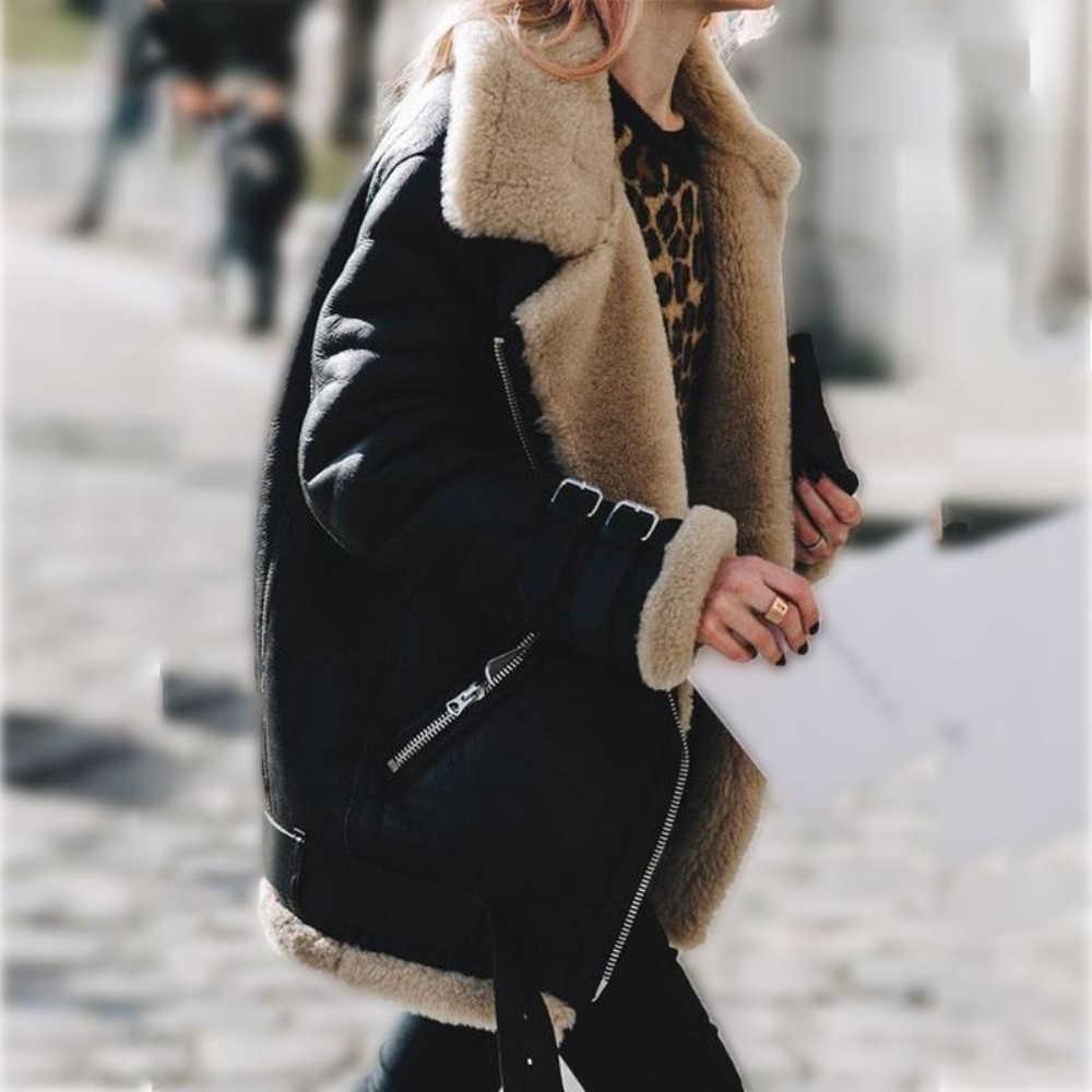 Faux futra zamszu 2019 nowych kobiet grube kurtki zimowe kobiet płaszcze casualowe długie rękawy Street znosić Veste Femme Plus rozmiar 5XL