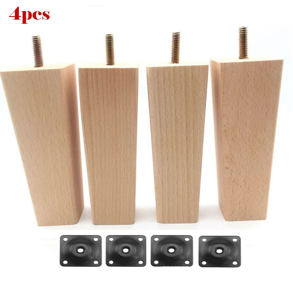 4Pcs 10/12/14cm Tapered Solid Wood Replacement For Sofa Bed Couch Foot Loveseat Coffee Table Cabinet Wood Furniture Wood Legs