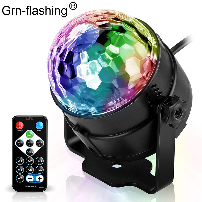 7 Color LED Disco Magic Ball Projection Lamp Sound Control 3W Strobe Rotating Led Stage Light For Club Party Wedding Holiday