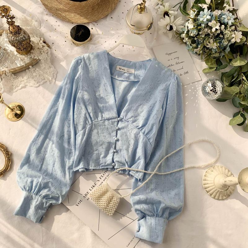 Autumn Women's V-neck Chic Soft Lace Long Flare Sleeve Short Crop Tops Lady Solid Color Elegant   Blouse     Shirts   J468