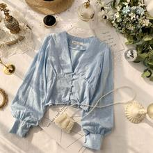 Autumn Women's V-neck Chic Soft Lace Long Flare Sleeve Short Crop Tops Lady Solid Color Elegant
