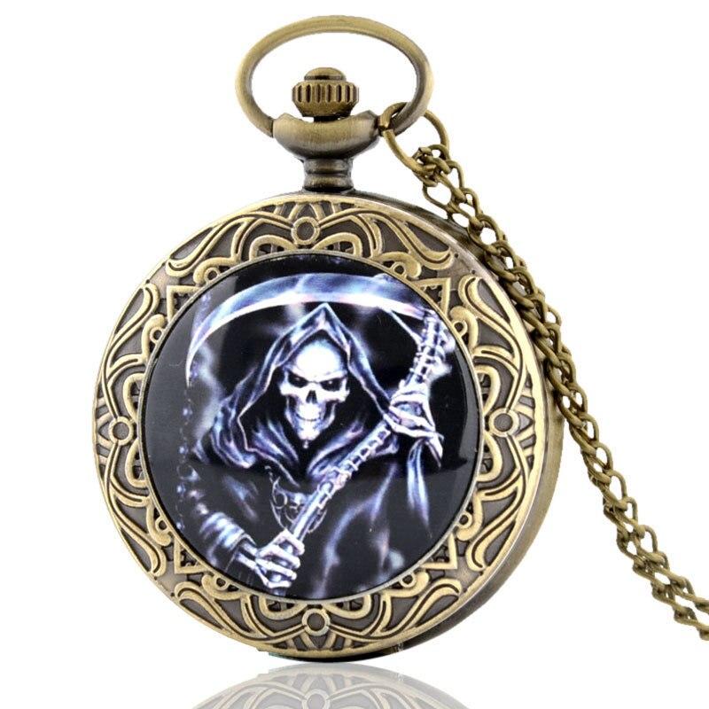 IBEINA  Ghost Spirit With Knife Theme Full Hunter Quartz Engraved Fob Retro Pendant Pocket Watch Chain Gift
