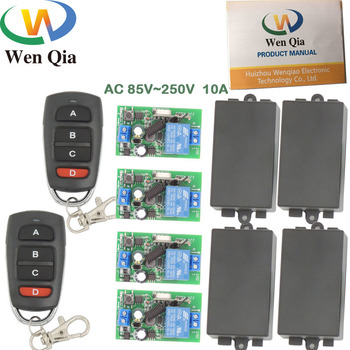 AC 85~250V 10A 2200W 1CH 4 gangs Remote Control Switch Wireless Receiver Relay Module for rf 433MHz Remote Electric Door and LED