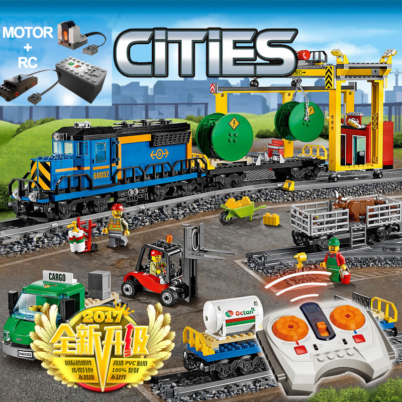 Compatible With 60052 City Motorized Remote Control Cargo Train Hobby 02008 Kit Building Blocks Bricks Power DIY Toy
