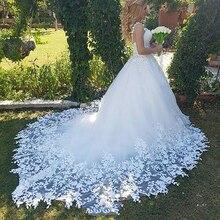 Женское свадебное платье LORIE, кружевное бальное платье со шлейфом, 2019