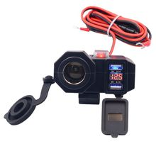 12V Waterproof Motorcycle Dual USB Phone Power Socket Charger LED Auto Parts