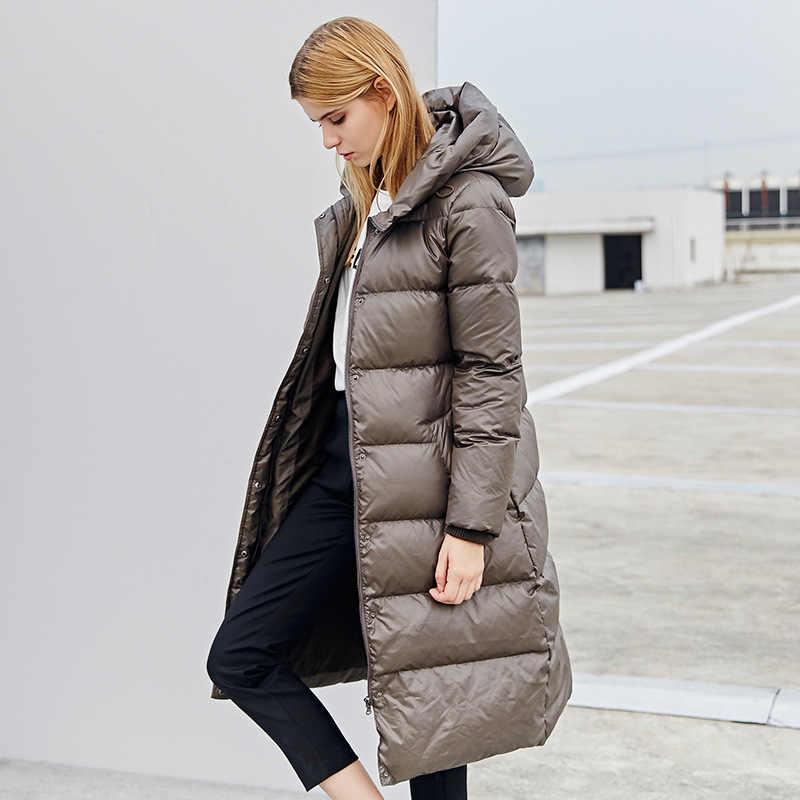 Kış ceket kadınlar uzun kaban kadın kalın 90% beyaz ördek aşağı ceket bayan uzun palto sıcak kapüşonlu giysiler 2020 16Y0303