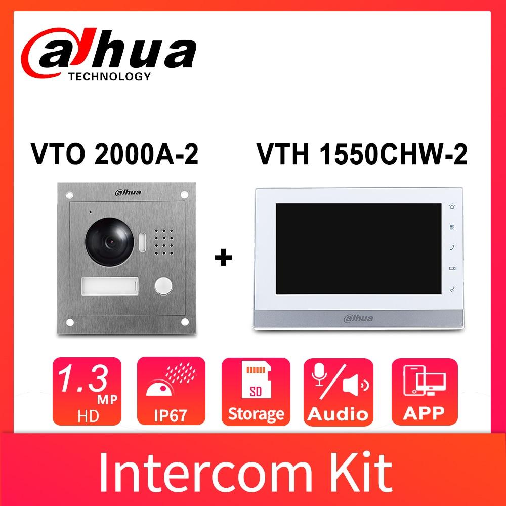 Dahua-Kit de alarma de Audio bidireccional, Original, VTK-VTO2000A-VTH1550CH, 7 pulgadas, 800x480, 960P, IP, 2,8mm, Control de 2 puertas, aplicación remota