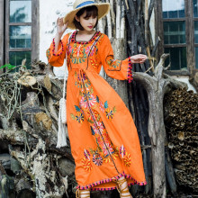 Indian Saree Hippie-Dress Pakistan-Clothing Embroidered Women Long-Robe Ethnic Casual