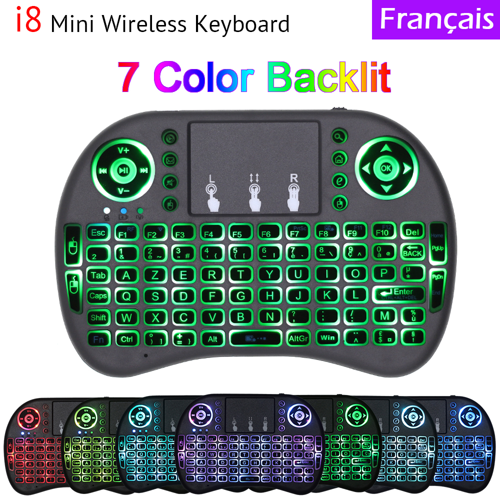 7 Color Backlit I8 Mini Wireless Keyboard French Version Air Mouse With Touchpad For Android TV Box Mini PC IPTV Media Player