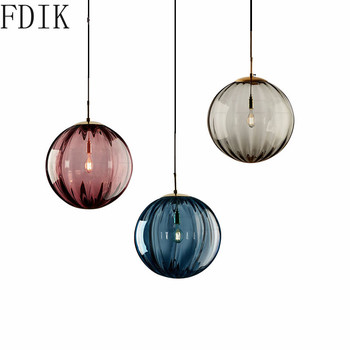 Nordic 20cm Round Glass Pendant Lights for Home Loft Light Fixtures Living Room Bedroom Kitchen Luminaire Decor Led Hanging Lamp