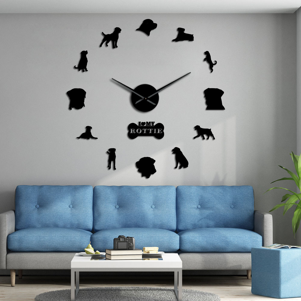 Dog Breed Guard Dog Rottweiler Large Wall Clock DIY Contemporary Clock Watch I Love My Rottie Home Decor Gift For Dog Lovers